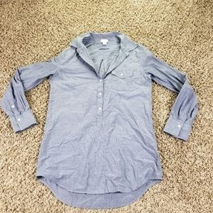 J Crew Womens XS Blouse Button Blue Collar High Lo